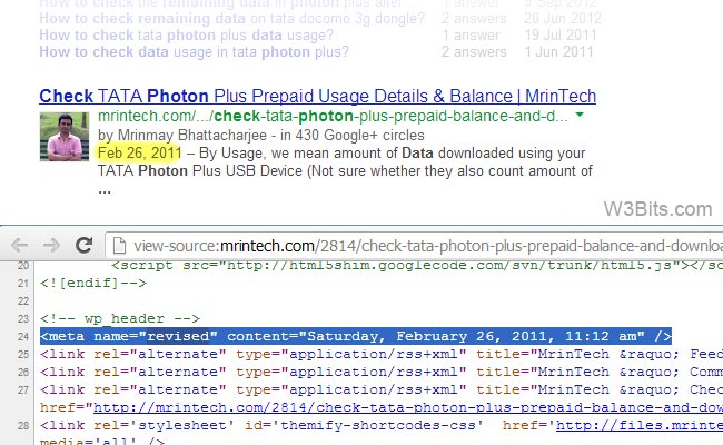 Last Modified date on Google search results