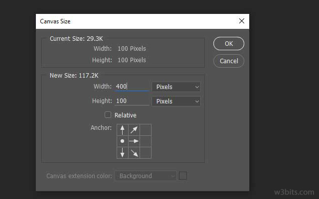 Altering the canvas size in Photoshop