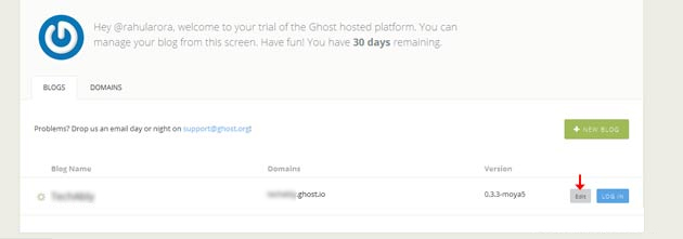 Editing your Ghost blog's settings