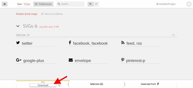 Exporting SVG sprite in IcoMoon App