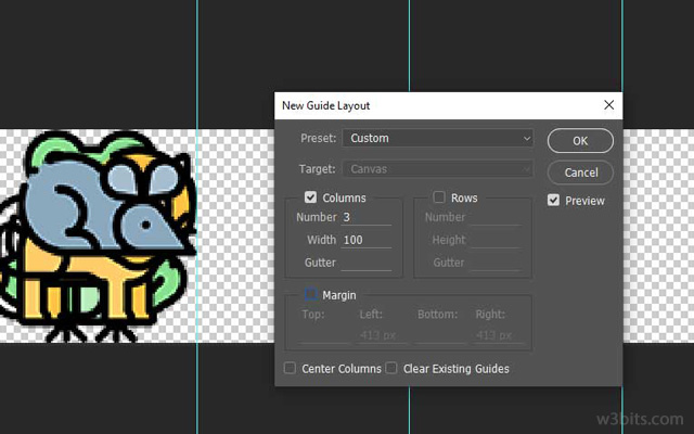 Creating a new guide layout for CSS sprite in Photoshop
