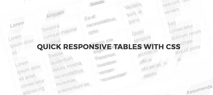 Simple Responsive Tables with CSS