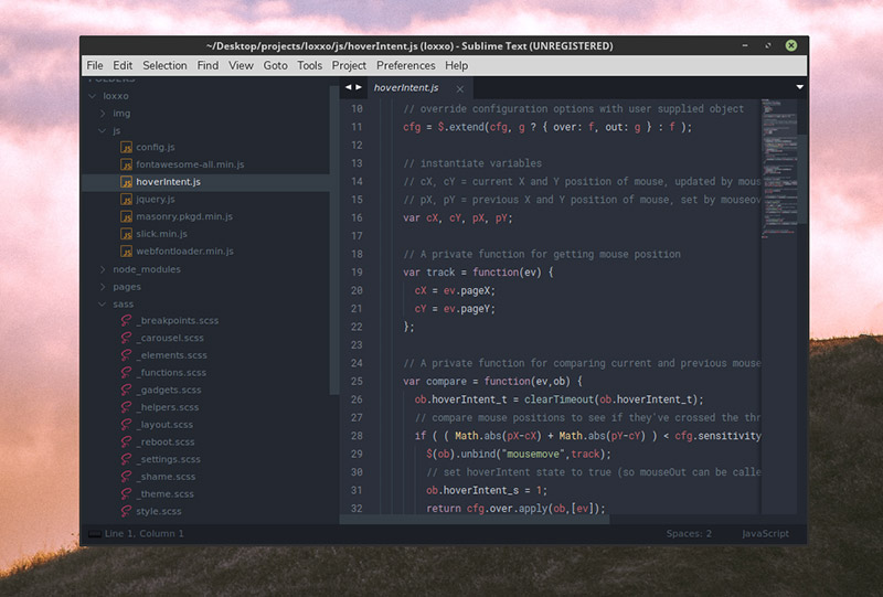 Spacegray Theme for Sublime Text