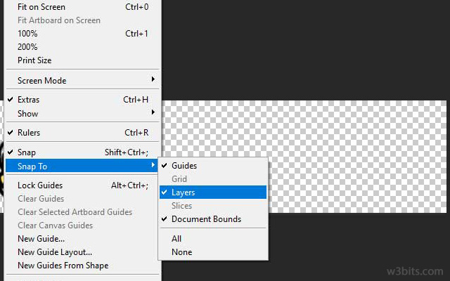 Changing view's snap settings in Photoshop